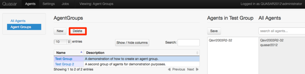 Deleting Agent Groups